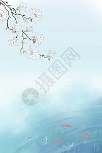 蓝色清新花卉背景图片