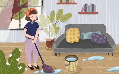 五一在家做家务图片