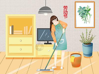 小清新风格节日插画五一劳动节图片