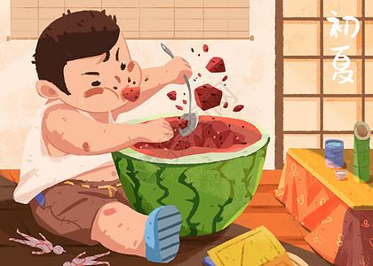 吃西瓜纳凉图片