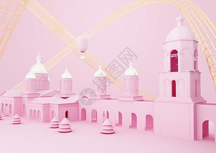 粉色城堡场景图片
