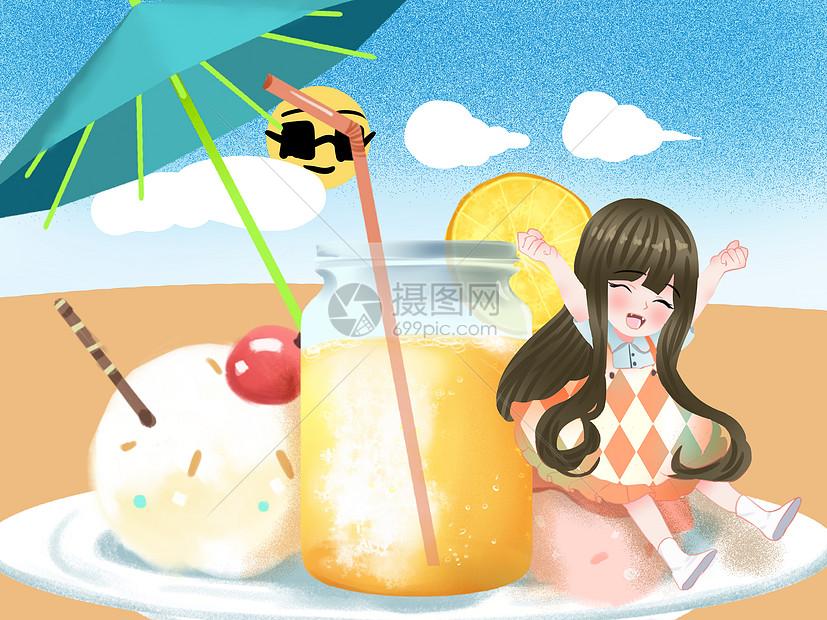 小清新风格夏天冰淇淋插画图片