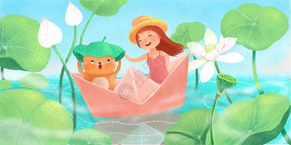 立夏小女孩坐船游玩荷花池图片