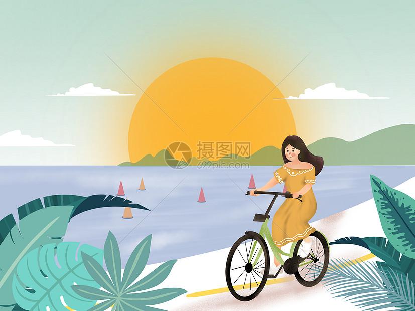 夏季沿海骑行唯美治愈插画图片