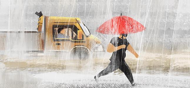 冷空气大雨暴雨插画图片