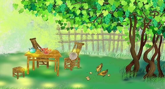 夏天葡萄树下乘凉图片