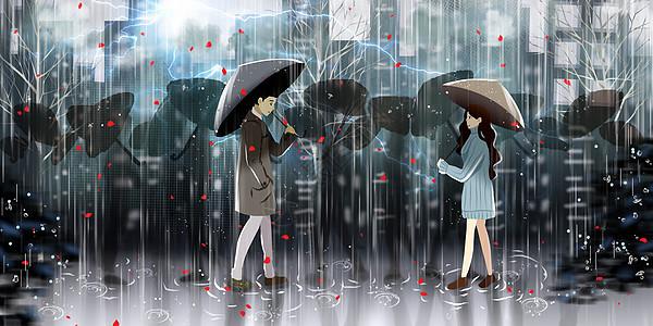 暴雨中的相遇图片