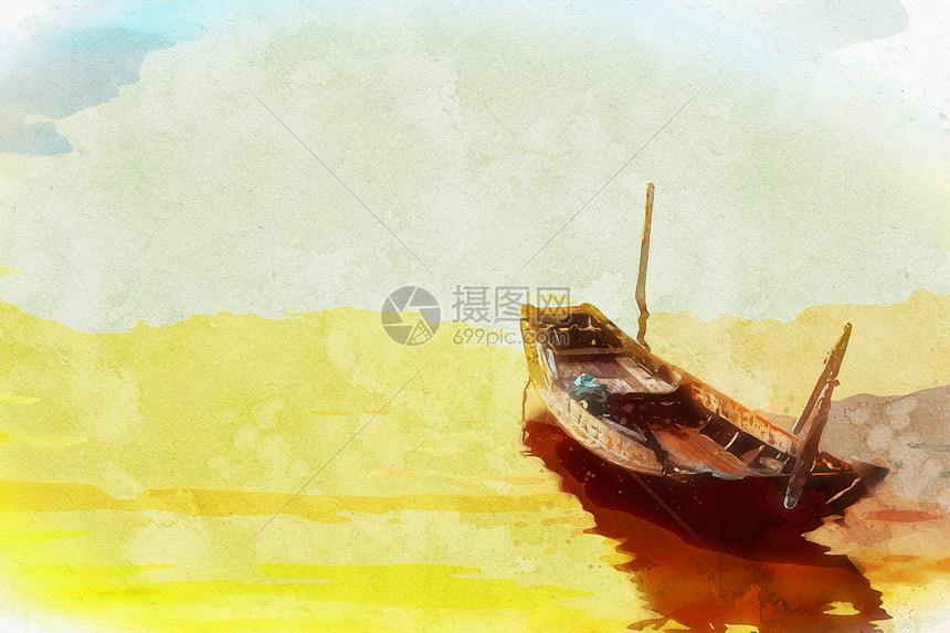 手绘水彩山水景唯美治愈插画图片