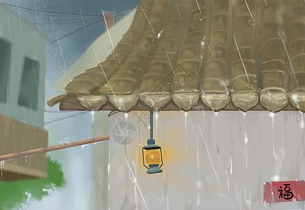 夏·下雨处的屋檐一角图片