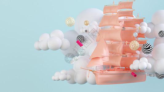 创意悬浮帆船场景图片