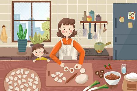五一在家包饺子图片