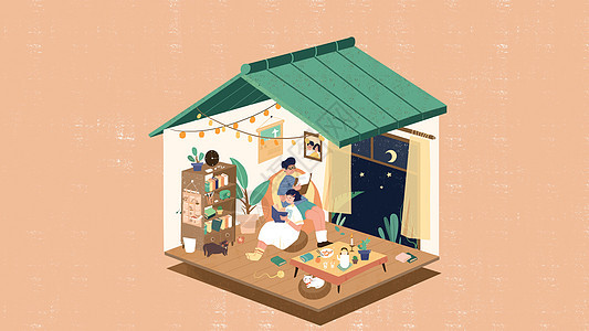 小清新扁平风情侣夜晚相伴房子2.5d卡通插画图片