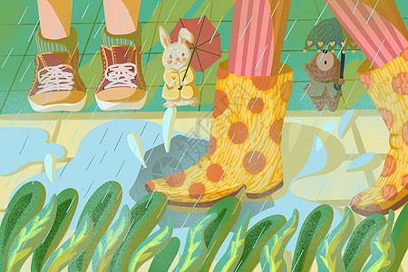 下大雨积水的地面图片