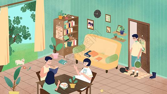 绿色小清新朋友聚会夏天卡通插画图片