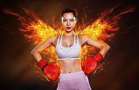带着火焰翅膀的运动美女图片