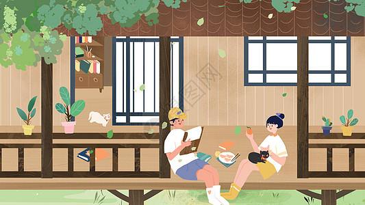 小清新情侣朋友夏天聚会卡通插画图片
