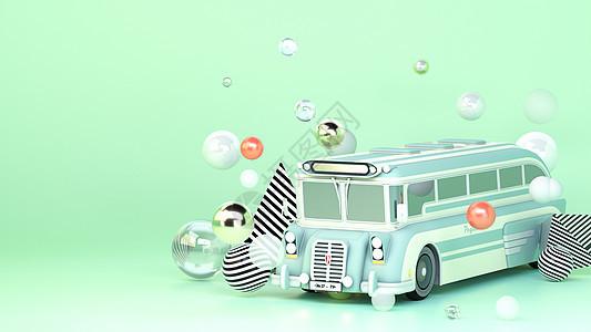 创意卡通公交大巴场景图片