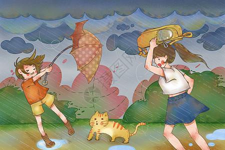 冒着大雨行走的女孩图片