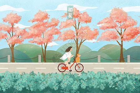 初夏骑着单车带小狗去玩耍图片