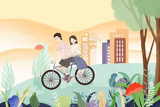 夏季情侣骑车出游图片