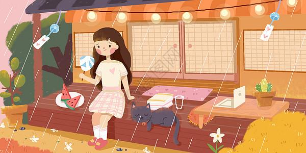 初夏夏天雨中女孩在院子中和猫咪乘凉图片