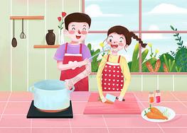 520居家情侣做饭图片
