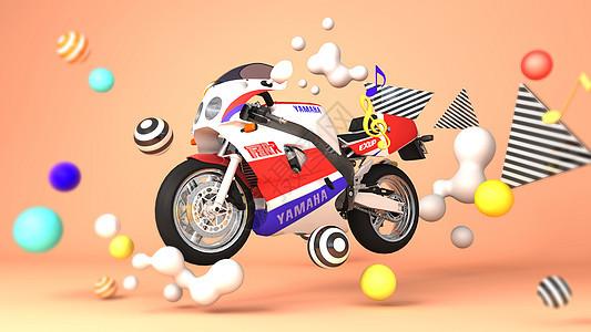 卡通赛车摩托场景图片