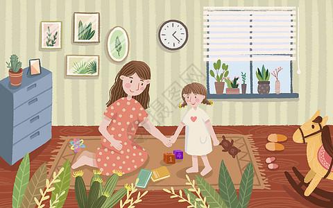 卡通客厅温馨母女图片