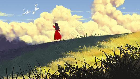 春天草地看云少女图片