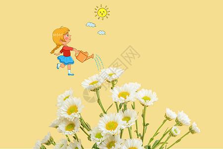 浇花的小女孩图片