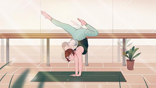 小清新女孩运动瑜伽夏天运动卡通插画图片