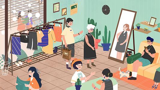 小清新扁平风儿子带妈妈购物母亲节插画图片