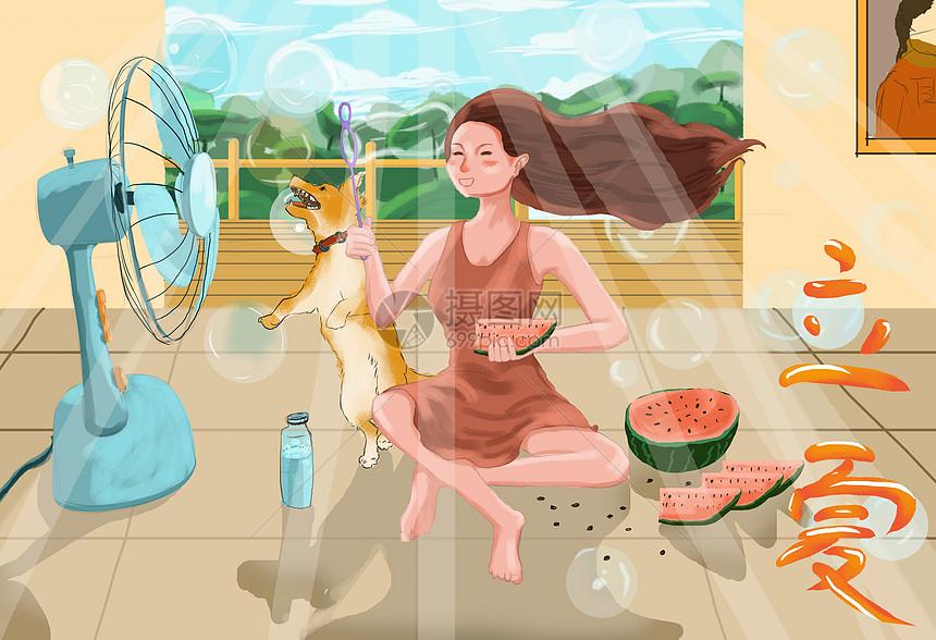 坐着吹风扇吃西瓜的女孩图片