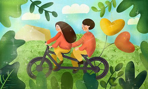 情人节骑着单车的情侣图片