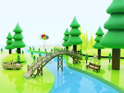 创意清新树林场景图片