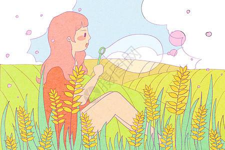24节气小满美女清新插画图片
