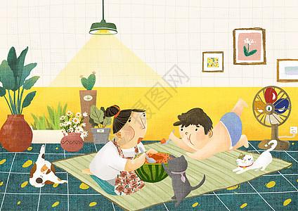 夏天在家吃西瓜图片