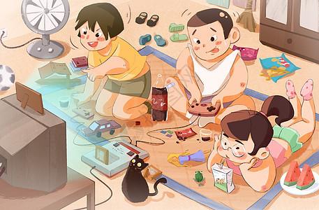 童年回忆-打游戏机图片
