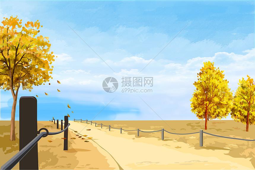 手绘秋天图片