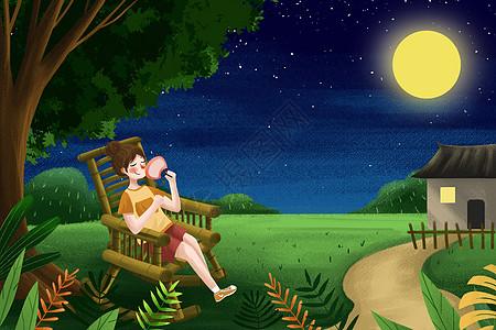 夏夜女孩乘凉图片