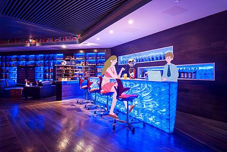 酒吧喝酒偶遇长发美女图片