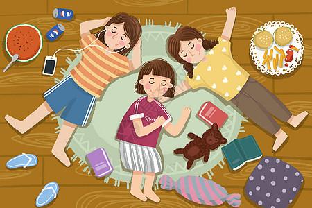 假期女孩们悠闲午睡图片