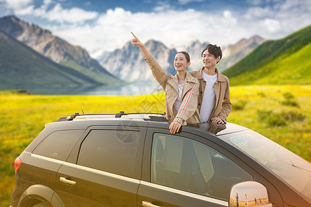 情侣自驾游图片