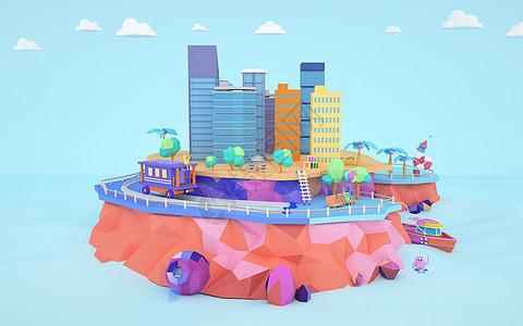 卡通城市场景图片