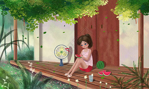 夏日吃瓜图片