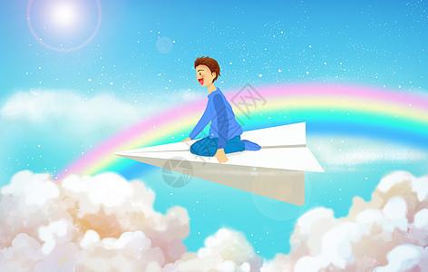 男生坐在纸飞机上图片