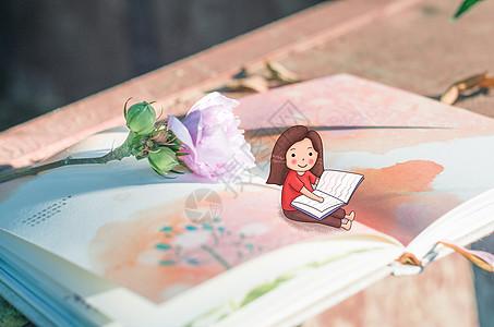 夏天看书的女孩图片