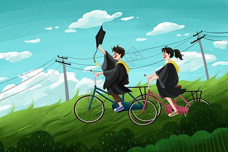 毕业季大学生毕业骑自行车插画小清新学生图片