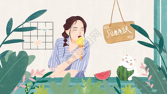 夏天女孩吃冰淇淋图片