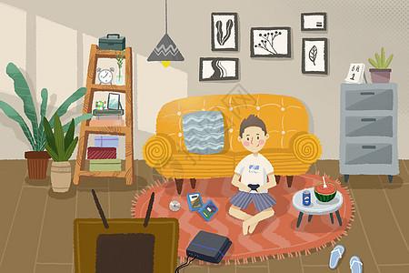 六一宅家打游戏图片